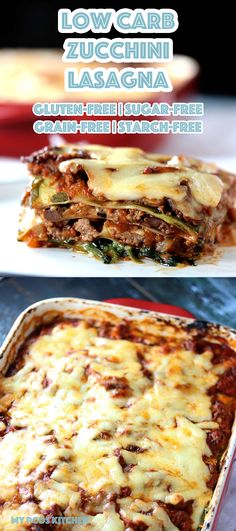 Low Carb Zucchini Lasagna - My PCOS Kitchen - A delicious gluten-free sugar-free and grain-free cheesy lasagna with homemade meat sauce and zucchini noodles. via My PCOS Kitchen Healthy Gluten Free Recipes, Low Carb Dinner Recipes, Sugar Free Recipes, Keto Recipes, Cooking Recipes, Ketogenic Recipes, Kitchen Recipes, Keto Dinner, Diabetic Recipes