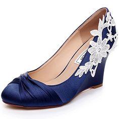 ffe1b953ac2c satin bridal shoes Blue Wedding Shoes Wedge Wedding Shoes Comfortable Wedge  Shoes Unique Design Wedge Shoes for Wedding Bride Closed Toe Wedges for  Women