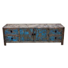 Distressed Low Chest of Drawers Blue