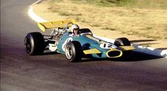 Jack Brabham driving his Brabham-Ford to victory in the 1970 South African Grand Prix.