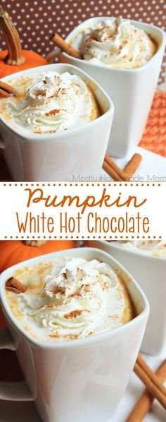 Pumpkin White Hot Chocolate the perfect fall drink for friends and family Made on the stove top with sweetened condensed milk pumpkin puree whole milk and spices Thanksgiving Dinner Recipes, Holiday Recipes, Thanksgiving Sides, Holiday Foods, Christmas Desserts, Christmas Recipes, Gluten Free Pumpkin, Pumpkin Recipes, Pumpkin Puree