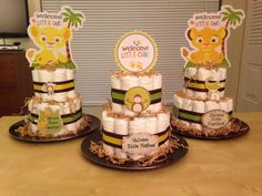 Lion King themed Baby Shower Diaper Cakes