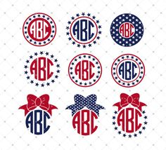 4th of July Monogram Frame SVG Cut Files for Cricut Explore and Silhouette Cameo, fourth of July, Independence day