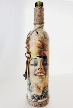 Vintage Bottle with Mix of 1920's Sheet Music Cover and Vintage book Pages, Functional, Decor Item