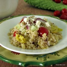 Greek quinoa salad is loaded with veges and topped off with a red wine vinaigrette. Healthy and delicious! I Love Food, A Food, Good Food, Yummy Food, Healthy Eating Recipes, Raw Food Recipes, Cooking Recipes, Healthy Food, Yummy Recipes