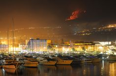 Turistic port of Riposto (CT) with Etna eruption - Sicily, Italy