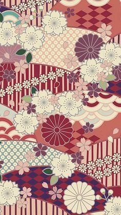 壁紙 待受 和柄 Japanese Textiles, Japanese Prints, Japanese Design, Textile Patterns, Flower Patterns, Print Patterns, Chinese Patterns, Japanese Patterns, Japanese Paper