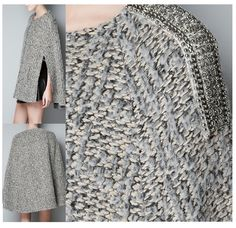 ZaraSpain - cape with embellished epaulettes...interesting textures in the knit