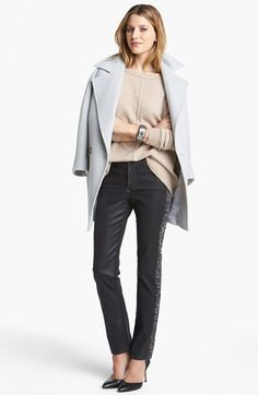 Helene Berman Coat, Pure Amici Sweater & NYDJ Skinny Jeans  available at #Nordstrom