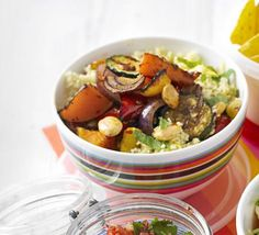 Roasted veg & couscous salad recipe, Throw together a filling and fragrant couscous salad for a vegetarian lunchbox meal, or double it for a buffet Roasted Vegetable Couscous, Couscous Salad Recipes, Vegetable Quinoa, Roasted Vegetables, Vegetable Dishes, Coucous Salad, Quinoa Recipe, Quinoa Salad, Bbc Good Food Recipes
