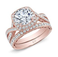 SIEMER JEWELERS ARD12475 KATTAN 18K ROSE GOLD HALO DIAMOND TWISTED SHANK SEMI-MOUNT COMPLEMENTED WITH ROUND WHITE DIAMONDS, FEATURING 0.71 CARAT TOTAL WEIGHT SHOWN WITH WEDDING BAND