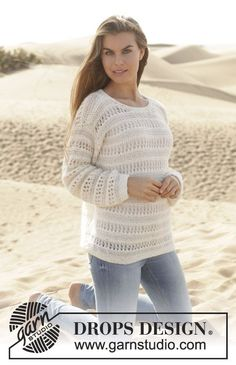 "Knitted DROPS jumper in garter st with lace pattern in ""Baby Merino"" and ""Alpaca Silk"". Size: S - XXXL. ~ DROPS Design"