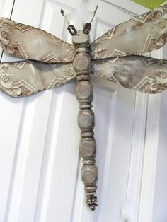 Table Leg Dragonfly Wall Art vintage tin tile by LucyDesignsonline, $65.00