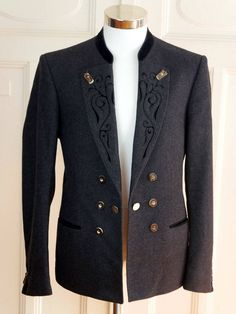 Austrian Vintage Trachten Jacket, Charcoal Gray Black Velvet Traditional Bavarian Loden Wool Blazer, Octoberfest Jacket: Size 42/44 US/UK by YouLookAmazing on Etsy