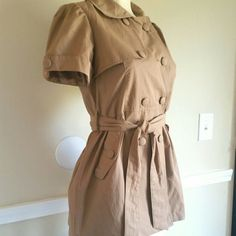 Forever 21 Jacket Short sleeve camel jacket, with a self-tie belted waist, buttoned front and 2 front pockets.  26 in long approx.  55% Cotton 45% Nylon Forever 21 Jackets & Coats