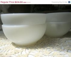 Four Vintage Fire King Milk Glass Chili Bowls
