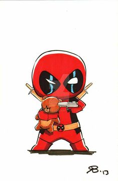 Cute Deadpool, Deadpool Chibi, Deadpool Fan Art, Deadpool Tattoo, Chibi Marvel, Deadpool And Spiderman, Marvel Art, Deadpool Kawaii, Deadpool Quotes