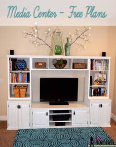 Build a Handmade Entertainment Center Perfect for Your Space: Free Entertainment Center Plan at Her Tool Belt Handmade Furniture - http://amzn.to/2iwpdj4