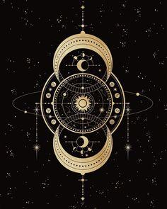 23 The Astrolabe (Compass) from the Luna Aurea Oracle Deck. Seeking your purpose but also… Mandala Lunar, Mandala Art, Moon Design, Design Art, Diy Design, Tattoo Geometrique, Illustration Inspiration, Geometric Tatto, Moon Dance