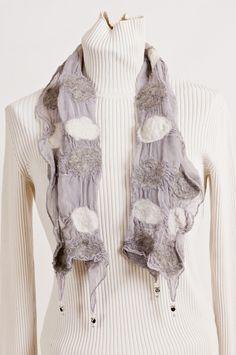 Nuno felting, alpaca and bunny fur with crystal beads on silk, Beech Hill
