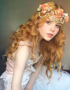 Blond girl fantasy art photo blonde blue eyes with flowers on her head in white dress white pale skin fairy tale fashion editorial photography g Editorial Hair, Editorial Fashion, Hair Color For Black Hair, Dark Hair, Hair Colour, Portrait Photos, Mode Editorials, Fashion Editorials, Chica Cool