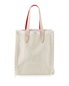 Christian Louboutin Small Cabalace Canvas & Leather Tote In Naturel/ Antoinette Lace Weave, Small Canvas, Canvas Leather, Hand Bags, Calf Leather, World Of Fashion, Luxury Branding, Calves, Christian Louboutin