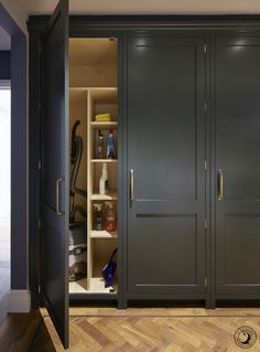 A tall utility cupboard with shelving creates the perfect place to store all your cleaning essential&; A tall utility cupboard with shelving creates the perfect place to store all your cleaning essential&; Annie K Pretty […] Room garage Boot Room Utility, Utility Cupboard, Cupboard Storage, Cupboard Doors, Bi Fold Pantry Doors, Drying Cupboard, Cleaning Cupboard, Laundry Cupboard, Wooden Cupboard