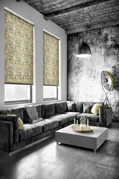 Elegant patterned roller blind in shades of yellow & grey. This subtle yet sophisticated urban design is available with a white plastic or nickel chain. Fabric Boxes, Roman Blinds, Roller Blinds, Blinds For Windows, Great British, Room Lights, Contemporary Interior, Urban Design, Sun