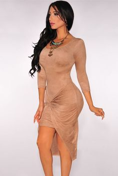 Trendy Nude Faux Suede Snug Knotted Midi Dress