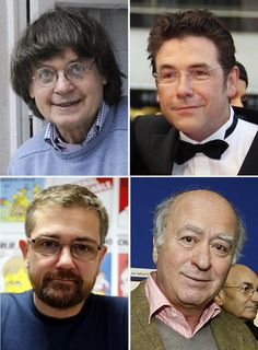 A combination of file photos made on January 7, 2015 shows (top from L) French cartoonist Jean Cabut, aka Cabu, posing at his home in Paris on December 10, 2008, French cartoonist Tignous posing in Cannes on May 17, 2008, (bottom from L) French satirical weekly Charlie Hebdo's publisher, known only as Charb, posing in Paris on December 27, 2012 and French cartoonist of the satirical newspaper Charlie Hebdo Georges Wolinski poSing in Angouleme on January 26, 2006. At least 12 people were ...