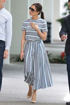 Victoria Beckham shows us how to nail the nautical trend in stripy co-ords Victoria Beckham Outfits, Victoria Beckham Style, Modest Fashion, Girl Fashion, Fashion Outfits, Womens Fashion, Style Fashion, Vic Beckham, Co Ords Outfits