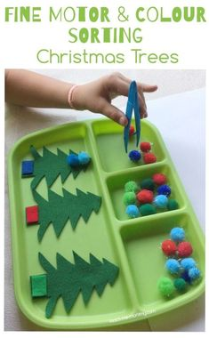 Fine Motor & Colour Sorting Christmas Trees with felt trees and pompoms!