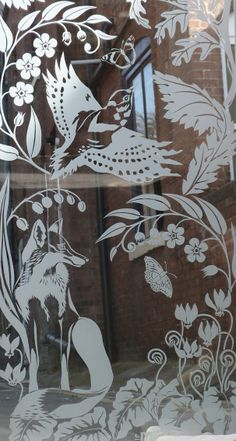 etched glass door panel