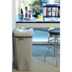 Rubbermaid Commercial Products Untouchable 23 Gal. Beige Square Swing-Top Trash Can-FG792020BEIG - The Home Depot