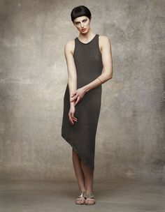 Asymmetric Hem Dress - Charcoal   $225.00