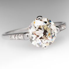 1920's Antique 2 Carat Old Euro Diamond Ring