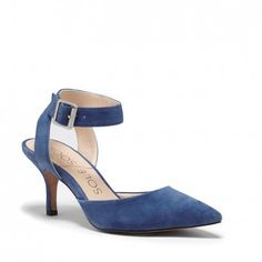 Women's Jean Blue Suede 2 1/2 Inch D'orsay Heel | Olyvia by Sole Society