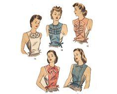 Vintage Sewing Pattern 1940s Dickey Set Riffle Bow Tuck Jabot