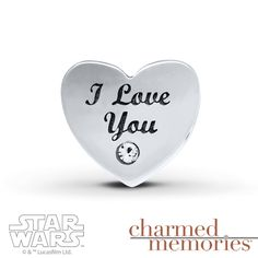 """This Star Wars™ charm from Charmed Memories® is styled in sterling silver and features the words """"I love you"""" on one side and """"I know"""" on the other. Round crystals complete the look. © & ™ Lucasfilm Ltd."""