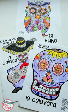 Dia de los Muertos / Day of the Dead Color by Number Pages  Contains 3 color by number pages for Dia de los Muertos / Day of the Dead: -el búho -la calavera -la calaca (mariachi)  Each page also comes without the numbers to add the options of students coloring the colors they choose or so that students can create their own color by numbers pages and exchange with another student.