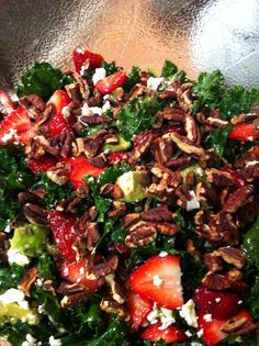 Strawberry Avocado Kale Salad. Must try this with my strawberries this summer. Healthy ingredients in a delicious combination.