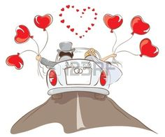 The bride and groom riding in a car. Illustration, card -- wedding car with ball , Sweet Drawings, Cute Cartoon Drawings, Couple Drawings, Best Man Wedding Speeches, Vintage Wedding Cards, Modern Halloween, Baby Painting, Dj Party, Cute Girl Wallpaper