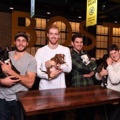 Boston Bruins: Matt Bartkowski, Dougie Hamilton, Adam McQuaid, and Torey Krug with puppies for the 2015 Pucks & Pups Calendar Buy your 2015 Pucks & Pups Calendar today! http://shop.nhl.com/Boston_Bruins_Gear/Boston_Bruins_2015_Pucks_and_Pups_Calendar_Presented_by_The_Black_Dog