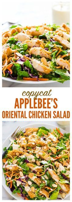 Healthy Salad Recipes 22298 Copycat Applebee's Oriental Chicken Salad. A better homemade version of the original restaurant recipe anyone can make! Juicy oven fried chicken, fresh greens, crispy ramen noodles in a sweet and tangy oriental dressing. Chicken Salad Recipes, Healthy Salad Recipes, Salad Chicken, Shrimp Salad, Dinner Salad Recipes, Fresh Salad Recipes, Applebees Asian Chicken Salad Recipe, Green Chicken Salad Recipe, Healthy Salad With Chicken