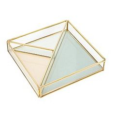A small yet uncompromising storage option, this tray is the perfect piece for storing smaller jewellery pieces. Offering a clear structured design in a contemporary shape, it is finished with gold-toned trims for added appeal. Jewelry Tray, Jewelry Show, Jewellery Display, Gold Jewellery, Jewelry Stand, Jewelry Holder, Origami Shapes, Mirror Box, Gold Bedroom