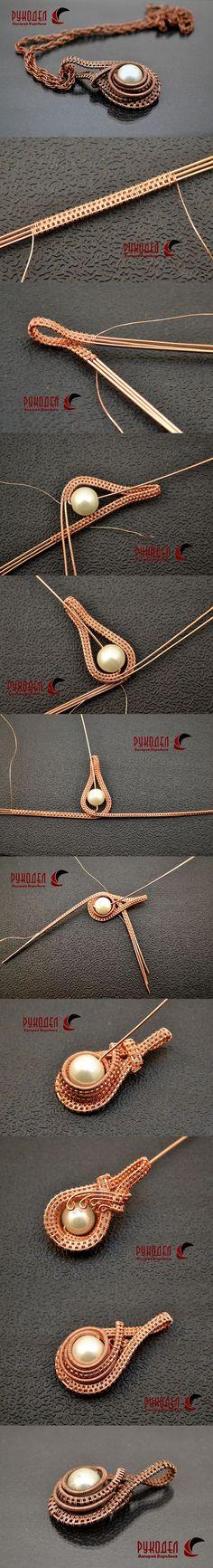 Wire Wrap Pendant. Подвеска из проволоки с бусиной в технике Wire wrap. | Рукодел – magazin-rukodel.ru/