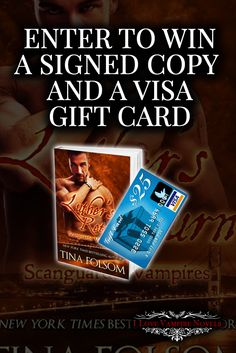 Win a $25 Visa Gift Card & Signed Paperbacks from NYTimes & USAToday Bestselling Author Tina Folsom http://www.ilovevampirenovels.com/giveaways/win-a-25-visa-gift-card-tina-folsom/?lucky=42484