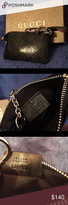 BLACK GUCCI WRISLET Authentic Black Gucci Wrislet. Comes with Wrislet and box with label . Brand new never used . Fast shipping Gucci Bags Clutches & Wristlets