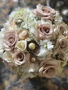 Vintage Bridal Bouquet using Antique Family Heirlooms. Lace from Mother's Wedding dress. Vintage Bridal Bouquet, Bridal Bouquets, Garden Roses, Grandmothers, Hydrangea, Antique Jewelry, Wedding Planning, Floral Wreath