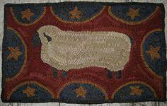 Folk Art Primitive Hand Hooked Rug Americana Sheep | eBay   sold   262.00     ~♥~